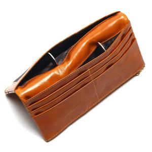 Image 4 - TAUREN 100% 정품 가죽 여성 전화 지갑 롱 지갑 레이디 오일 왁스 소 가죽 다중 카드 홀더 클러치 패션 지갑