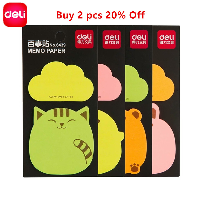 Deli 20 Sheets*2pcs Sticky Notes NotesSticky Memo Paper Post Notepad Memo Pad Office Supplies School Index Cute Stationery