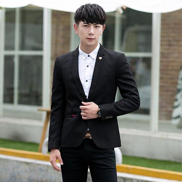 8bd279740d Mens Korean slim fit fashion cotton blazer Suit Jacket 3 classic colors  plus size M to