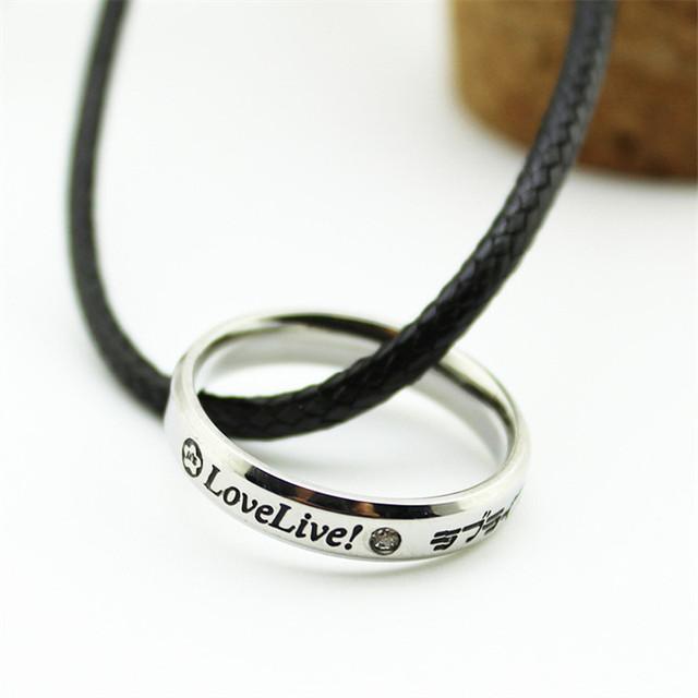 Love Live Titanium Steel Crystal Loop Necklace