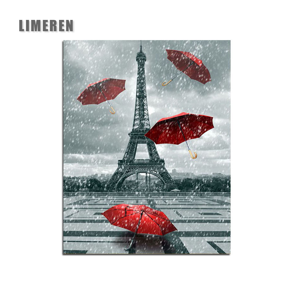Paris Eiffel Tower Umbrella Modular Picture Paint By Numbers On ...
