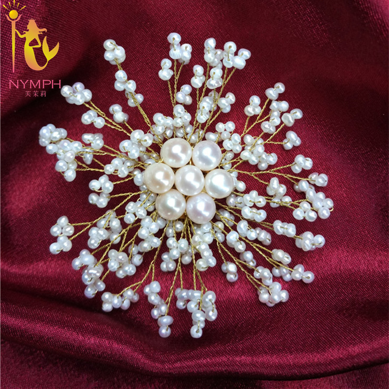 NYMPH Brooch Jewelry Natural Pearl Brooches Real Freshwater Large Brooches Brand Luxury Wedding Bouquets For