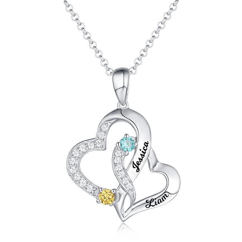 Personalized Double Heart Pendant Necklace For Women Engraved Name With Birthstone Pendant Necklace