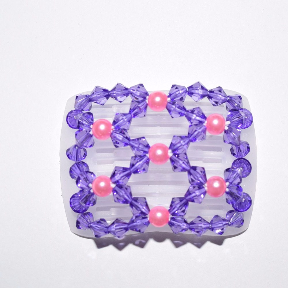 Small Size Beads: Pink And Purple Beads Small Size Clear Magic Comb 20 Pcs