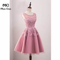 2018 A Line Homecoming Dress With Pearls Appliques Sheer Lace Party Dresses Cocktail Dresses Blush Pink
