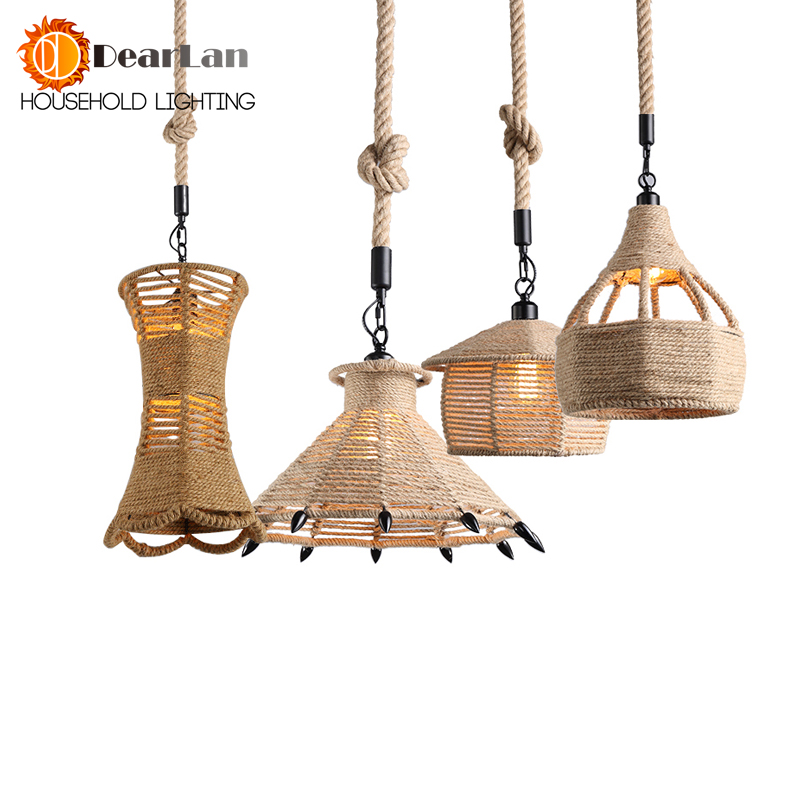 Vintage Wicker Pendant Lamp Hand Made Knitted Hemp Rope Iron Coffee Shop Pendant Lamps Loft Lamp American Lamp Free Shipping american country retro e27 led pendant lamp iron hemp rope hand knitted indoor lighting shop restaurant bar living room lamp