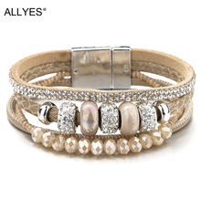 ALLYES Ceramic Beads Charm Leather Bracelets For Women Retro Boho Style Crystal Wide Multilayer Bracelet Female Jewelry