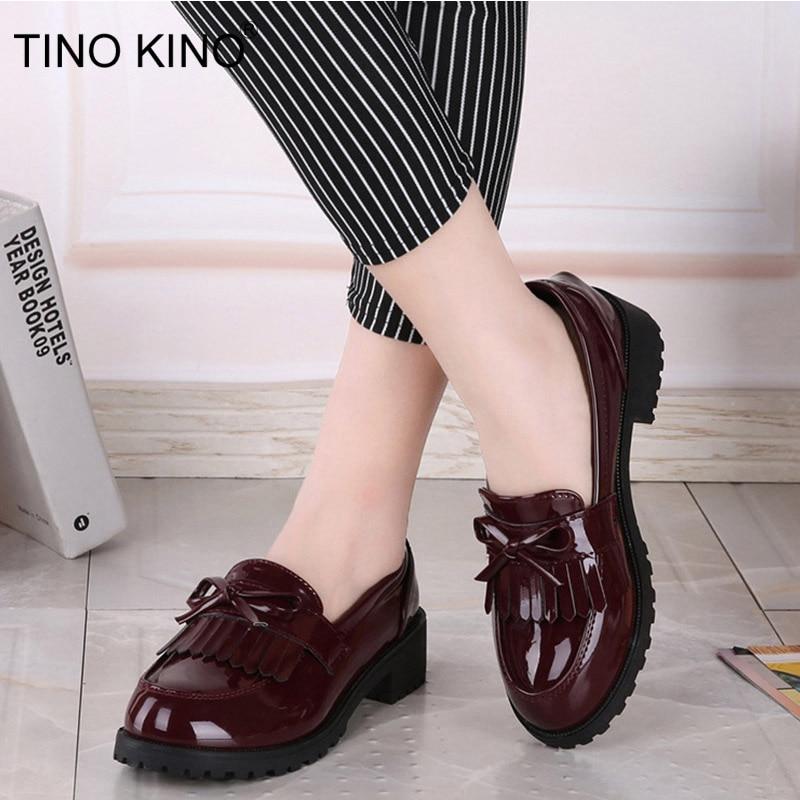 Women Bowtie Tassel Platform Autumn Derby Shoes Ladies Flat Oxfords Patent Leather Slip On Female Comfort Fashion Footwear