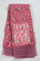 HL119 (5yards/pc) Luxury African lace fabric lilac embroidered French net lace fabric with stones and 3d flower for dress