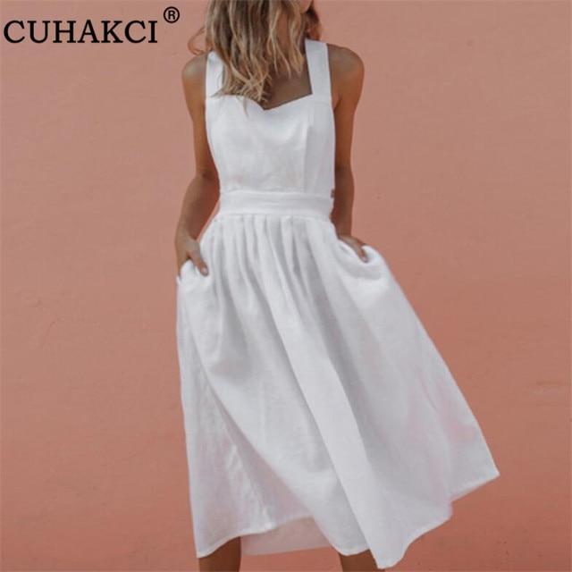 30bafb2cc1e5 CUHAKCI Sexy Dresses Sleeveless Bandage Bow Backless Red White Midi Women  Summer Dress Casual Sundress Strap Beach Dress XXXL