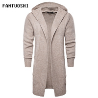 2018 New Fashion Casual Men's Long Sweater Male Sweaters Hooded Coat Knit Long Sleeve Cardigan Jacket Slim Thick Warm Sweater