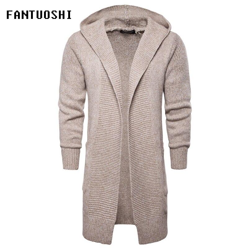 2018 Nouvelle Mode Casual Hommes de Long Pull Mâle Chandails À Capuchon Manteau En Tricot À Manches Longues Cardigan Veste Slim Épais Chaud chandail