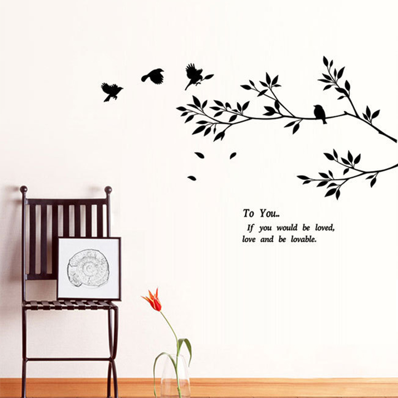 Short Sweet I Love You Quotes: 94X57cm Black Bird Tree Branch Wall Stickers Love Quotes
