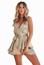 Flying Roc 2019 Women Sexy Jumpsuit Sleeveless Solid Color Set Sashes Femme Rompers Bodycon