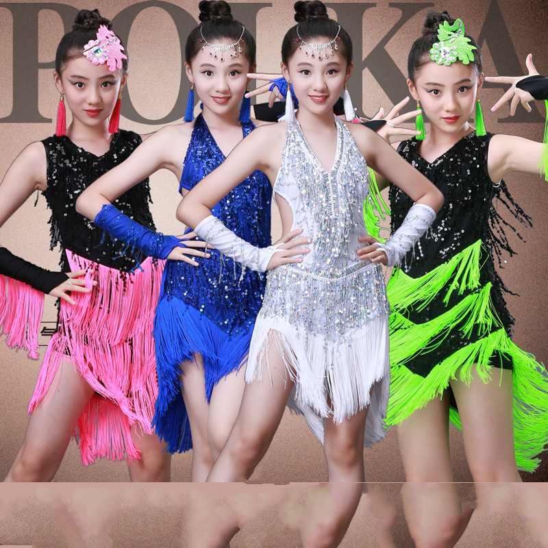 93235063b49a Latin Dance Skirt Children's Costumes Tassels New Just Sequins Competition Clothing  Girls Latin Dance Clothing Summer
