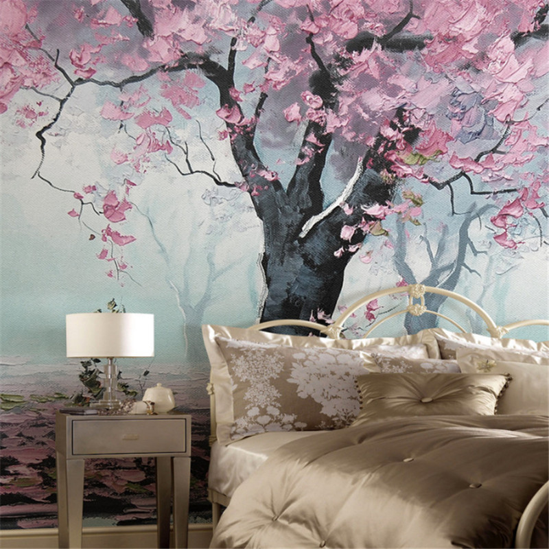 custom modern 3d high quality non-woven wallpaper mural romance tree oil painting study bedroom tv background wall home decor home decor non woven fabric 3d wallpapers modern wallpaper good lightfastness durable bedroom decor white grey pink 53x1000cm