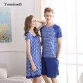 Amor de Los Hombres ropa de Dormir pijamas Para Las Mujeres Del Verano Modal Camisón de Algodón a Rayas Pijamas Parejas Pijamas