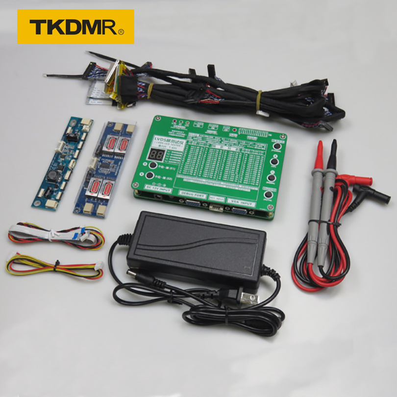 "TKDMR T-60S Laptop LED LCD TV Tester Tool Panel Support 7-55 ""W / LVDS Interface Lampara Cavi e Inverter Spedizione gratuita"