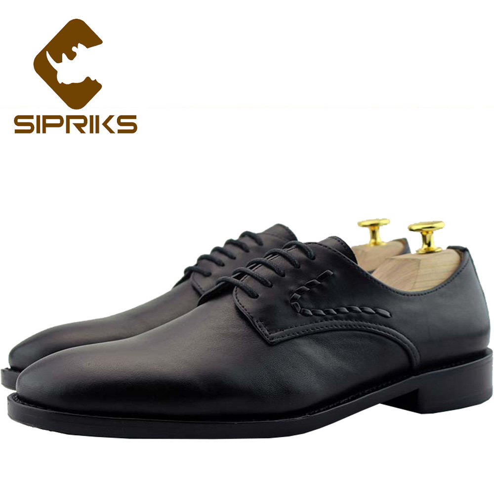 Sipriks Luxury Mens Classic Dress Shoes Real Leather Black Derby Shoes Italian Custom Goodyear Welted Shoes Party Wedding Flats 2015 italian luxury alligator fashion mens dress shoes genuine leather with buckle black flats for man wedding party office 979
