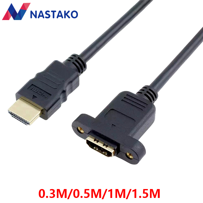 NASTAKO V1.4 HDMI Extension Cable High Speed HDMI Male to Female Ethernet Extender Cable with Screw Hole Locked Panel Mount