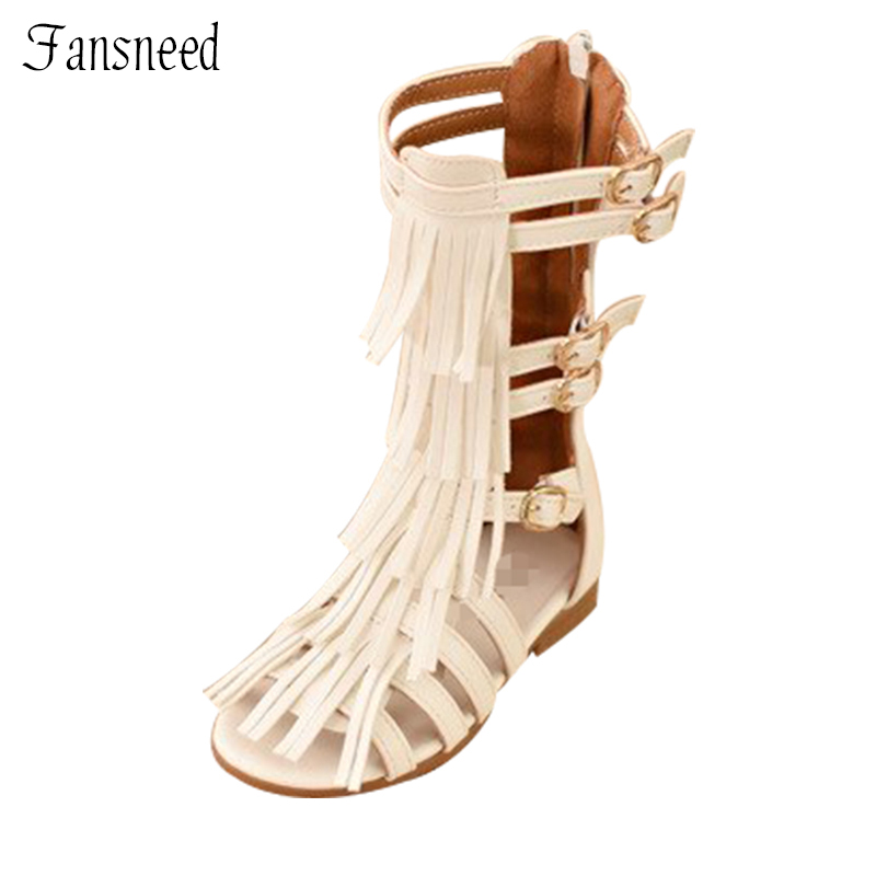 Children's summer 2018girls princess shoes tall canister fringed boots cool girl hollow Open toe sandals Roman llove new green southwestern print fringed open cardigan s $128 dbfl