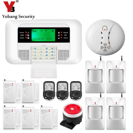 YobangSecurity 433MHz Metal Remote Control LCD Keyboard Wireless GSM PSTN Dual Network Home Security Alarm System Smoke Detector yobangsecurity lcd screen keyboard gsm pstn dual network alarm system for home security wired siren pir detector door sensor