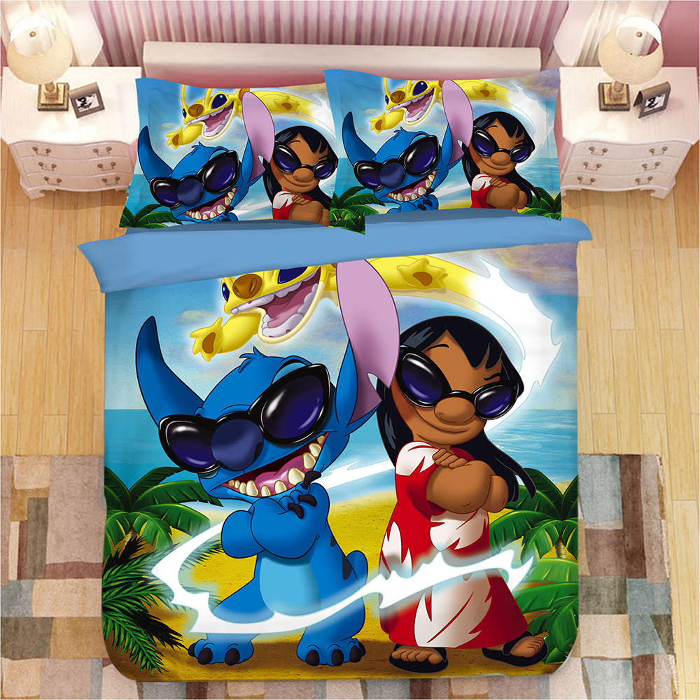 Lilo & Stitch Anime Bedding Set Stitch Lilo Duvet Covers Pillowcases Cartoon bed set Comforter Bedding Sets bedclothes bed linen-in Bedding Sets from Home & Garden    1