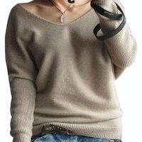 Plus Size 4XL Autumn Winter Cashmere Sweater Women Fashion Sexy V Neck Sweater Loose 100 Wool