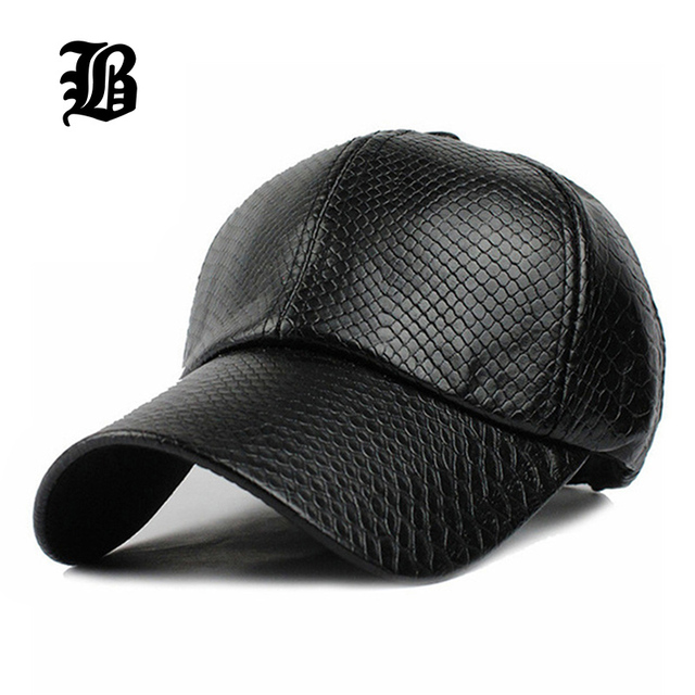 baac9299f630b3 FLB] Cool!new fashion PU black Baseball Cap women Hats For men fall ...