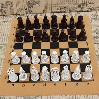 Chess Antique  Medium Piece Board Resin Lifelike Pieces Characters Cartoon Entertainment Gifts Yernea