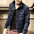 2016 Novos Homens Chegada Jaqueta Jeans casaco Azul profundo Duplo Bolsos calças de Brim dos homens Casacos Jaqueta Mens Slim fit Denim marca Jaqueta Outwear