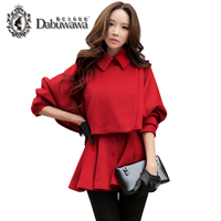 Dabuwawa Red Winter Long Sleeve Casual Trench Coat Two Pieces Slim Woolen Female Overcoat