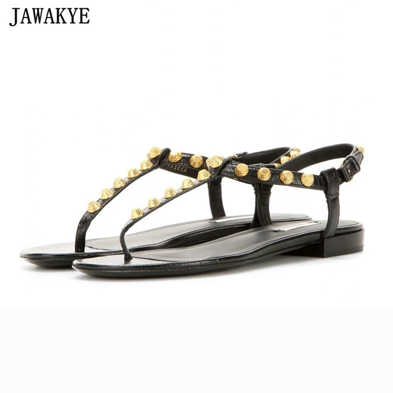 Summer Gladiator sandals women flat heels ankle strap flipflops gold rivets studded strappy newest beach shoes