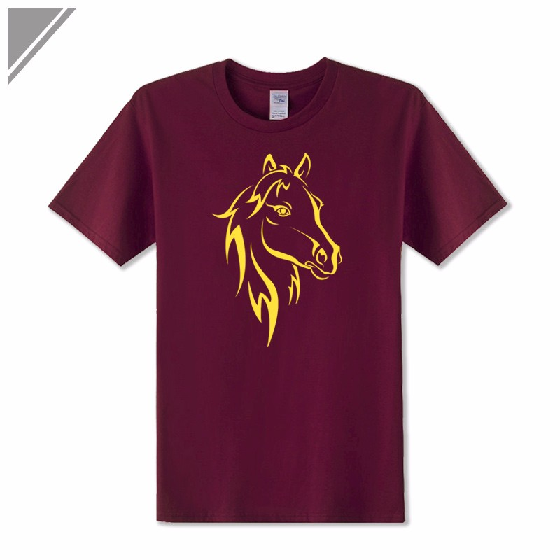 KOLVONANIG 2018 Fashion T Shirt Men Short Sleeve O-neck Cotton Hip Hop Mens Tee Shirts Animal Horse Printed T-Shirts Tshirts Top 6