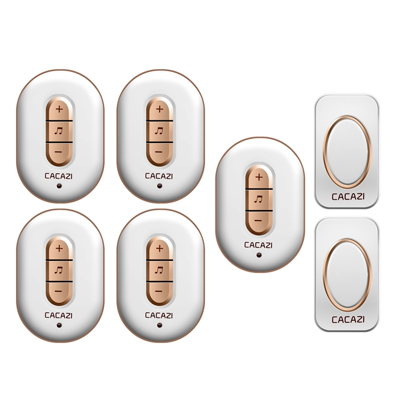 CACAZI Wireless doorbell AC 110-220V waterproof 2 buttons+5 plug-in receivers 280M remote door bell 48 rings 6 volume door chime 2 receivers 60 buzzers wireless restaurant buzzer caller table call calling button waiter pager system