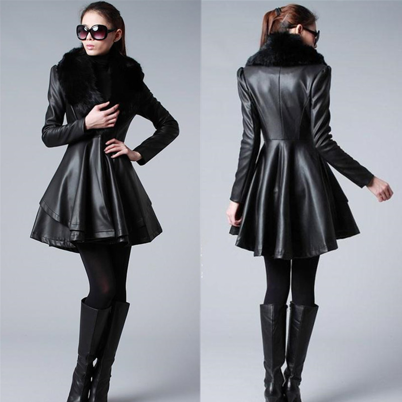 2015 New Design Long Leather Trench Coat With Luxury Fox