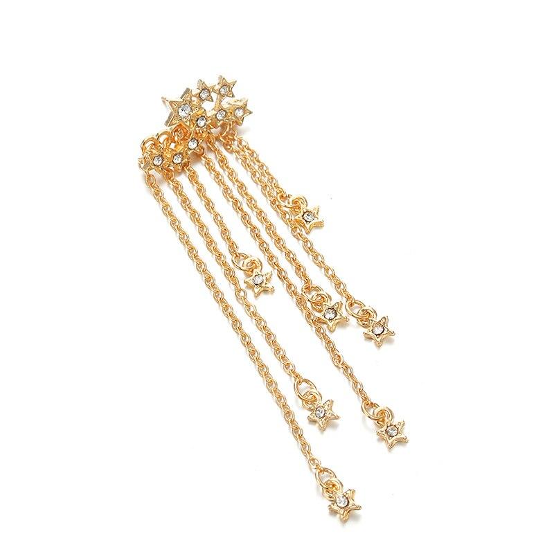 Стразы Звезды длинные кисточки серьги кисточка золотого цвета сережки oorbellen букле doreille femme ювелирные изделия подарок