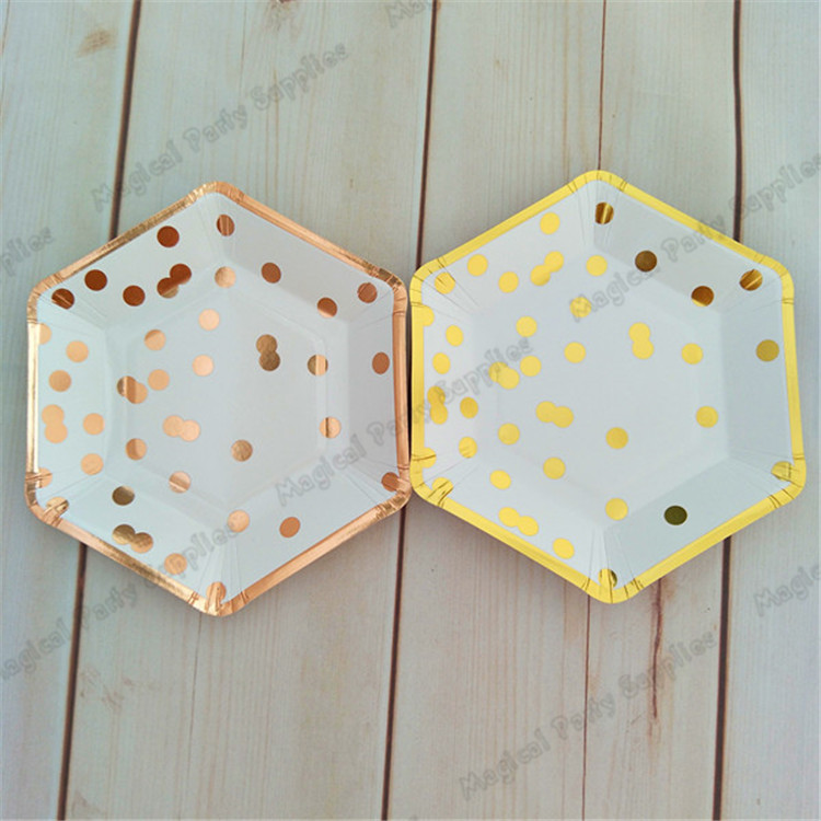 Aliexpress.com  Buy 120pcs Gold Foil Polka Dot Paper Plate Hexagon Small 7inch Paper Dishes for baby Shower Birthday Wedding New Year Christmas from ... & Aliexpress.com : Buy 120pcs Gold Foil Polka Dot Paper Plate Hexagon ...