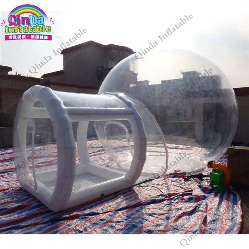 3m diameter inflatable transparebt camping tent,0.9mm pvc inflatable air bubble tent with frame tube entrance
