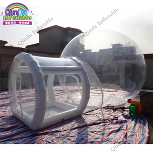3m diameter inflatable transparebt camping tent,0.6mm pvc inflatable air bubble tent with frame tube entrance(China)
