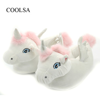 COOLSA Women S Winter Warm Unicorn Slippers Plush Cartoon Slippers For Women Indoor Non Slip Slippers