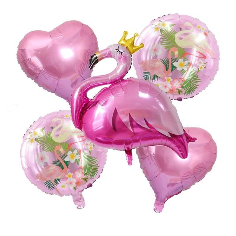 5pcs/set Flamingo balloon Set Heart Foil Balloon flamingos Inflatable Hawaiian Decoration Happy Birthday Party Supplies