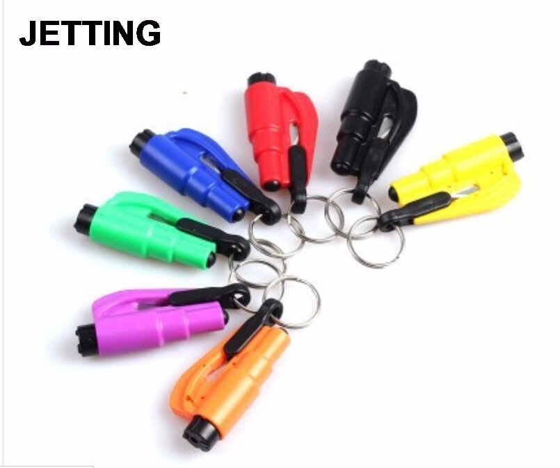 1Pcs Car Auto Mini Safety Glass Window Breaking Hammer Emergency Escape Rescue Tool with Keychain Seat Belt Knife Cutter