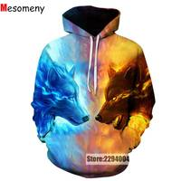 Ice Fire Wolf Hoodies 3D Men Women Sweatshirt Pullover Autumn Tracksuits Harajuku Outwear Casual Animal Male