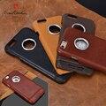 Couro genuíno Retro Ultra Fino de Metal Duro Tampa Traseira Da Pele Para iphone 7/7 mais 6/6 s 6/6 s plus luxury phone case frete grátis