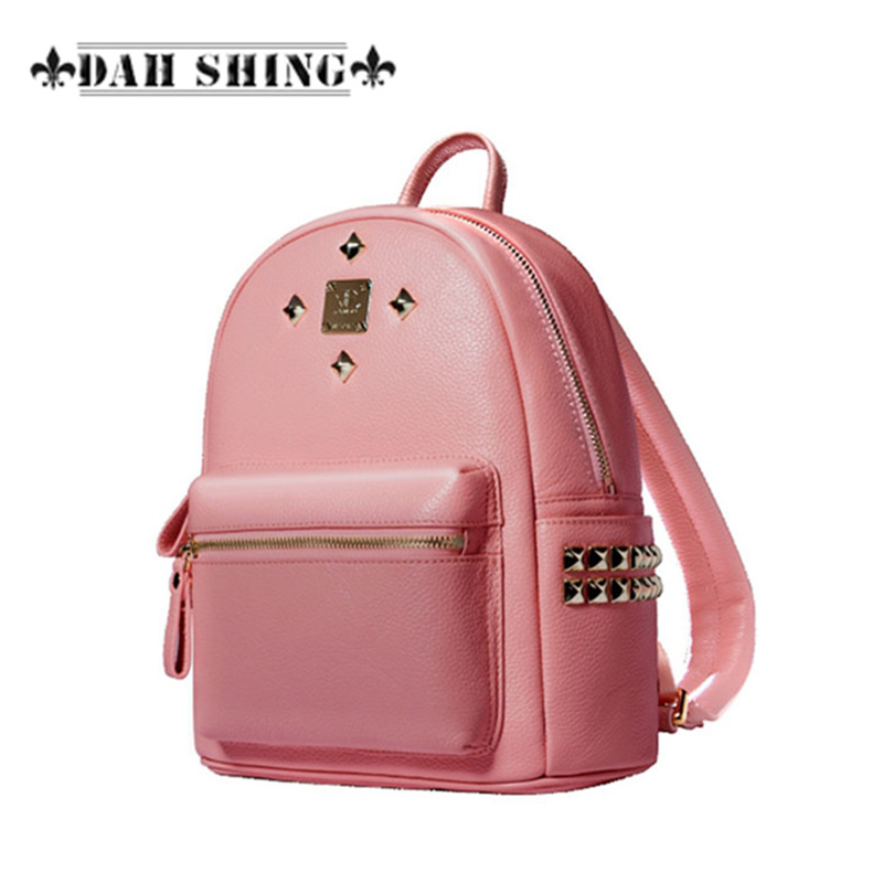New arrival candy color Pink/Blue Genuine leather Rivet studded women backpack shoulder bag feminas mochilas 18mm first layer genuine leather watch band for huawei watch fit honor s1 stainless steel buckle strap wrist belt bracelet