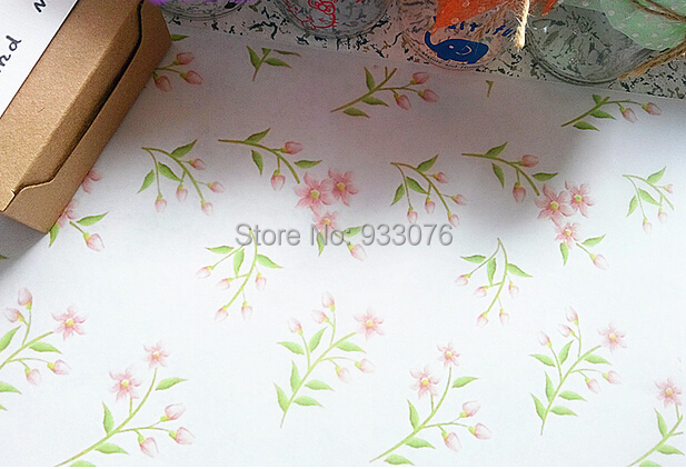 Fresh Spring Bloom Bud Pattern Greaseproof paper Half A4 size Hand Made Soap wrapping wax paper free shipping
