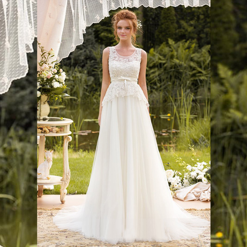 Simple Wedding Dress Divisoria: A Line Lace Wedding Dresses 2016 Bow Tulle Court Train