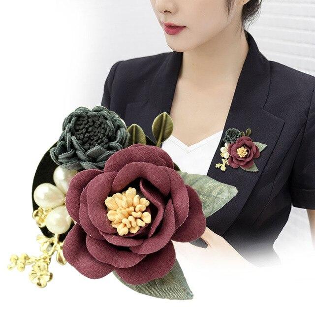 I-Remiel брошь Камелия корейский ткань цветок булавки интимные аксессуары Броши кардиган пальто модные милые ювелирные изделия для женщи