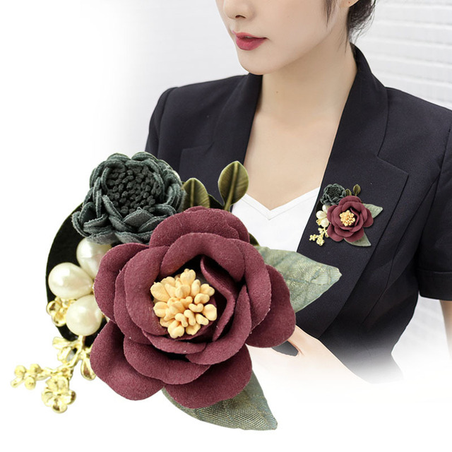 a9e03b6b8 i-Remiel Camellia Brooch Korean Fabric Flower Pin Accessories Brooches  Cardigan Coat Fashion Cute Jewelry